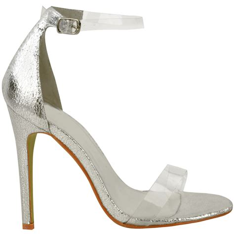 clear sandals heels womens high heel barely there clear perspex sandals
