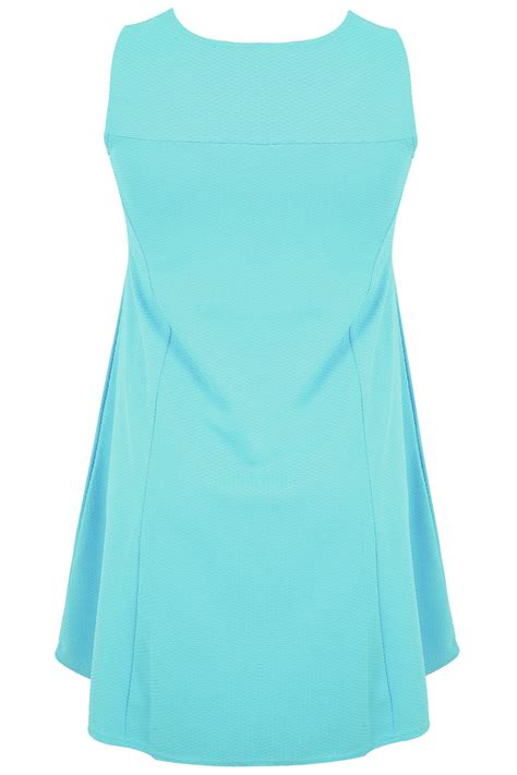 aqua swing aqua textured swing dress with silver necklace detail plus