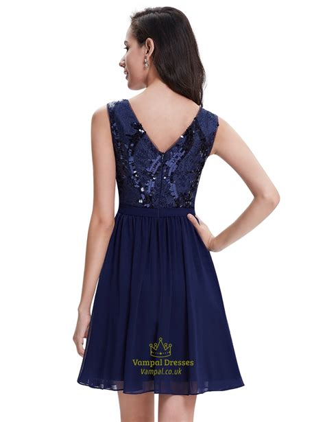 Dress With Sequin navy blue chiffon sleeveless cocktail dress with