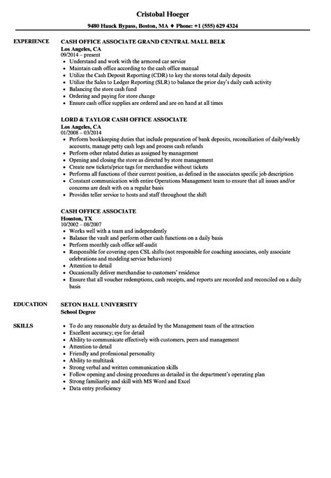 cash office associate resume sles velvet jobs