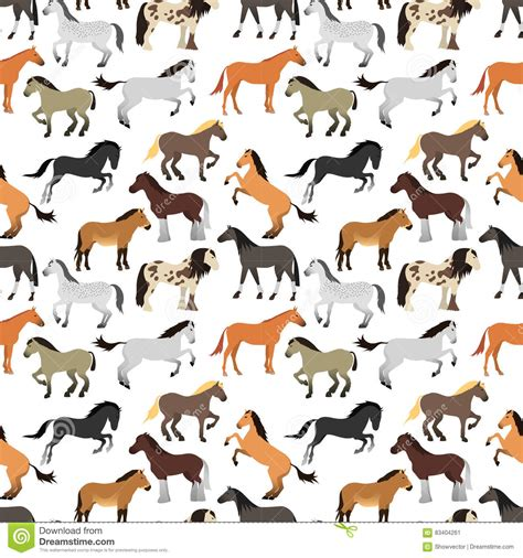 stock horse pattern seamless pattern with horse in flat style stock vector