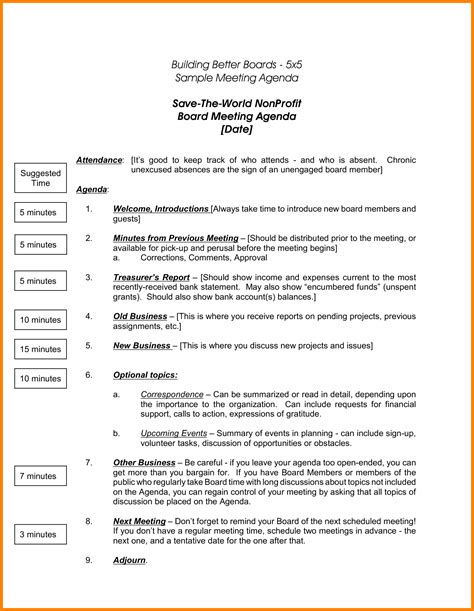 board meeting templates 8 nonprofit board meeting agenda template letter format for