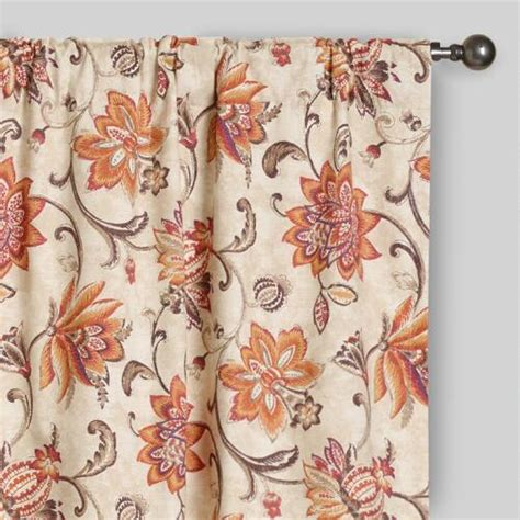 coral floral curtains coral pink floral eva concealed tab top curtains set of