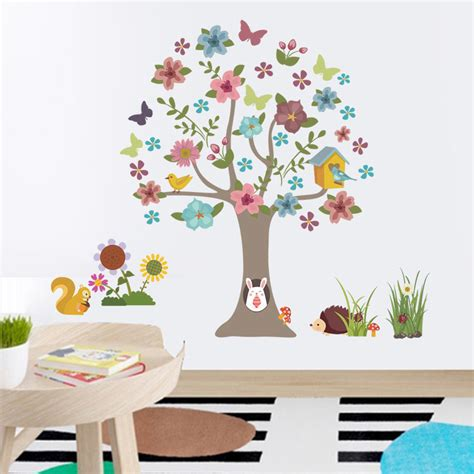colourful tree butterfly wall decals for nursery wall