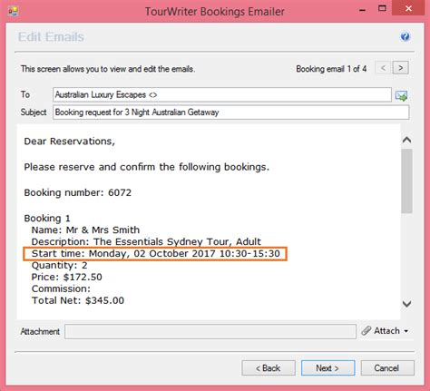 activities email booking request template tourwriter