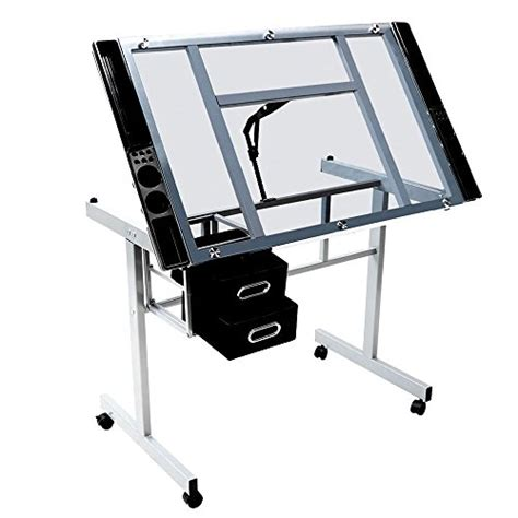 Rolling Drafting Table Go2buy Adjustable Drafting Drawing Table Rolling Drafting Desk Tempered Glass Top W Storage