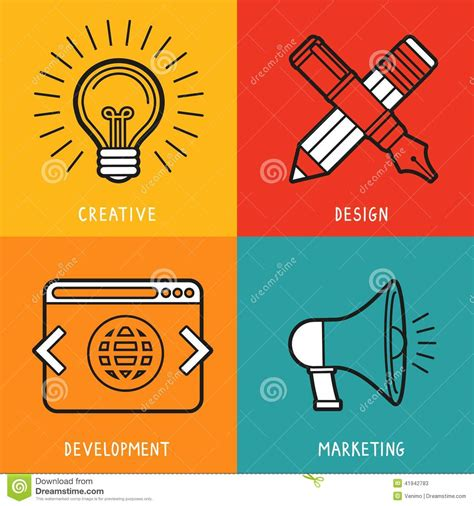 idea design and marketing vector business services icons in flat style stock vector