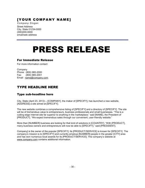 Press Release Letter Exle Press Release Template Peerpex