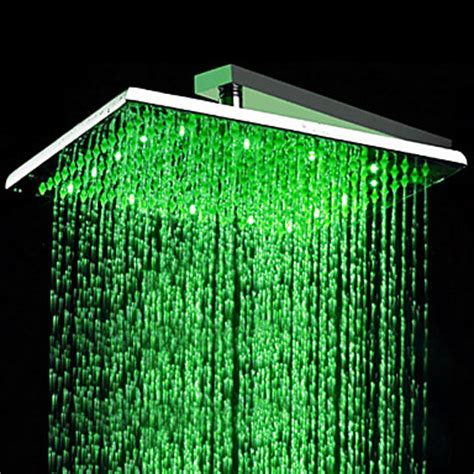 color changing shower contemporary 16 inch stainless steel color changing led