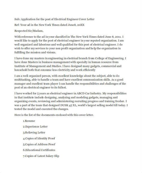 Application Letter Chemical Engineer 9 Application Letters For Engineer Free Sle