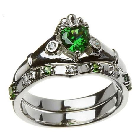 claddagh ring set 10k white gold green white cz claddagh ring wedding ring set