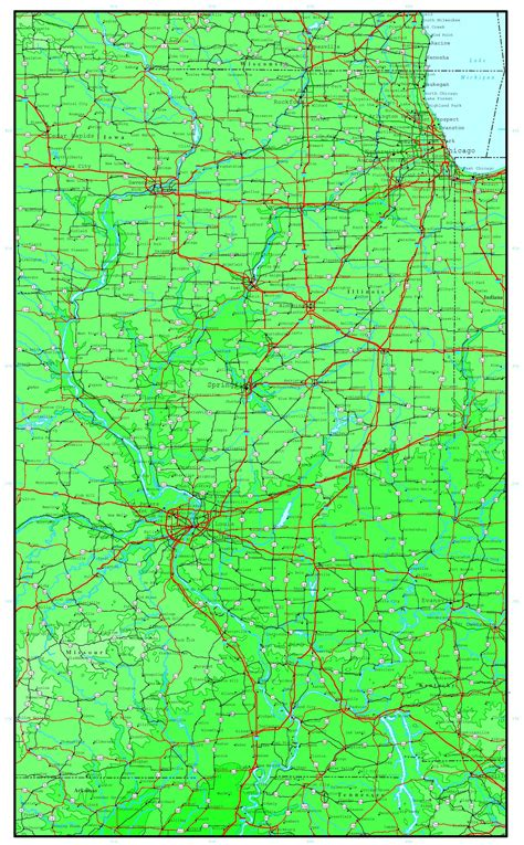 map of il illinois elevation map