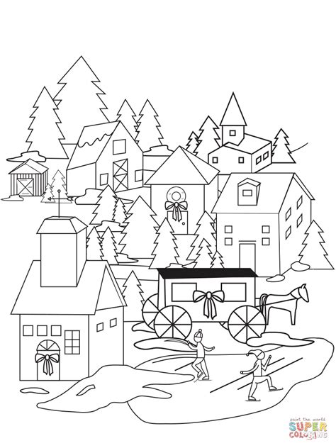 coloring pages christmas village christmas village coloring page free printable coloring