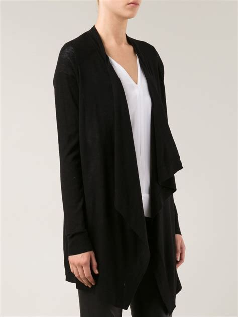 black draped cardigan vince draped open front cardigan in black lyst