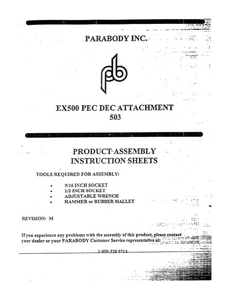 parabody ex500 assembly manual