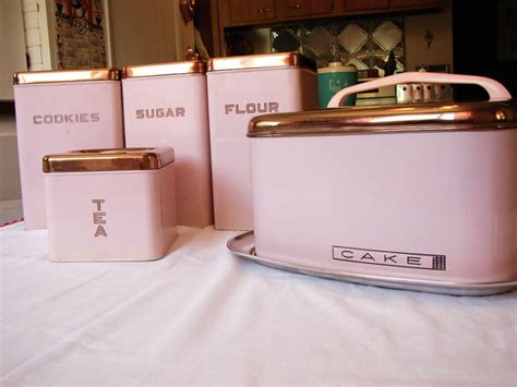 Pink Kitchen Canisters by Pink Lincoln Beautyware Canister Set And Cake Carrier