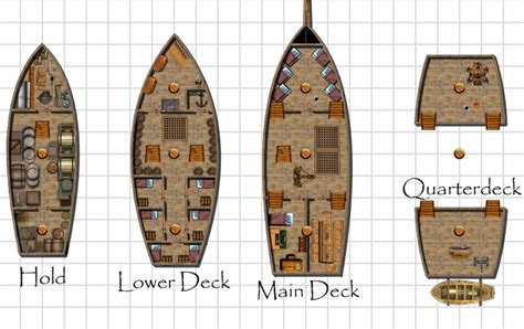 pirate ship floor plan pirate ship deck plans