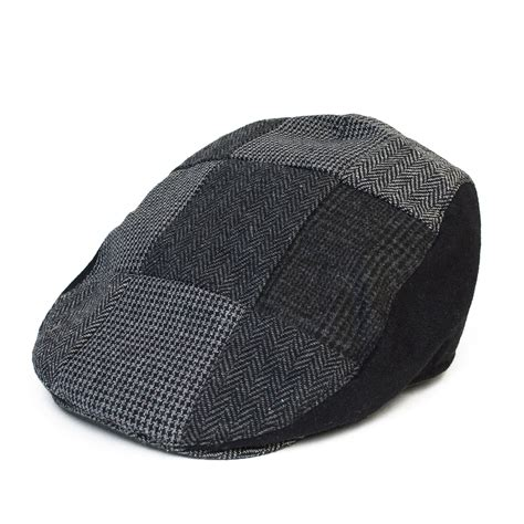 Wool Blend Cap country style wool blend flat cap with patchwork