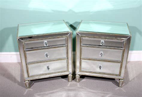 glass bedroom side tables mirrored glass bedside cabinets manicinthecity