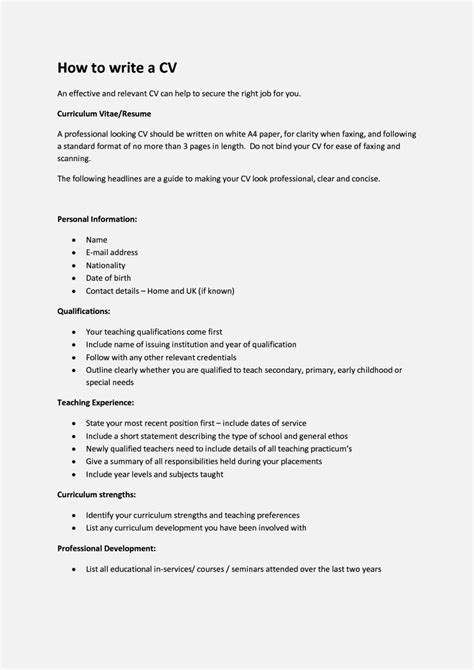 How To Write A Cv For A 16 Year Old With No Experience Uk Resume Template Cover Letter How To Write A To Your Template