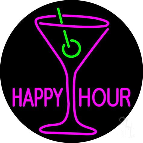 Happy Hour Wine Cube by Pink Happy Hour With Wine Glass Neon Sign Happy Hour