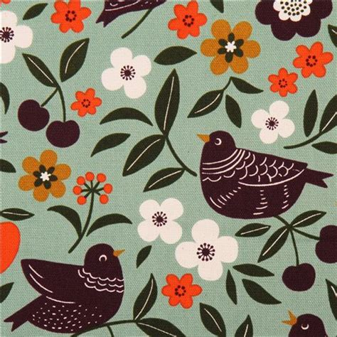 tessuti fiorati turquoise bird flower oxford fabric by cosmo from japan