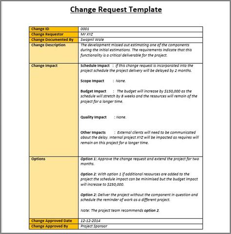Change Management Templates Free sle change request template project management