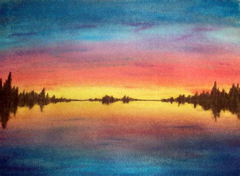 easy watercolor paintings of sunsets www imgkid