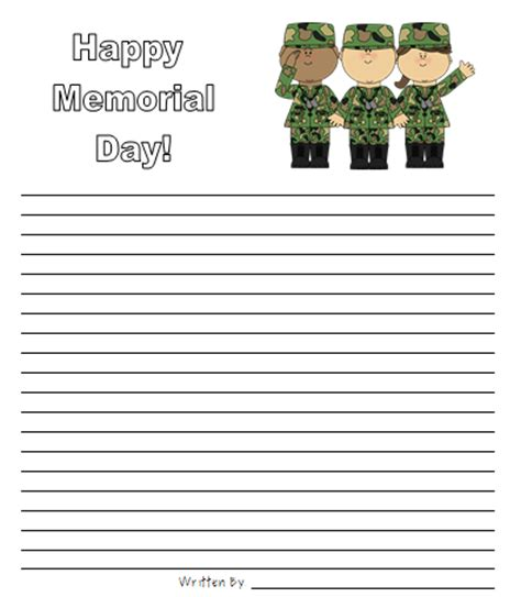 printable writing paper for veterans day classroom freebies memorial day writing paper