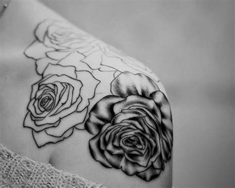 rose tattoo shading shaded and just outline ideas