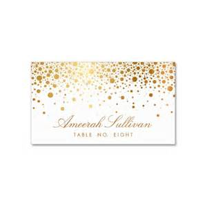 faux foil confetti gold and white place card luxury