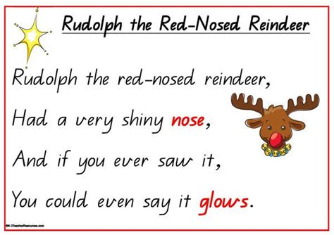 printable lyrics to rudolph the red nosed reindeer rudolph the red nosed reindeer