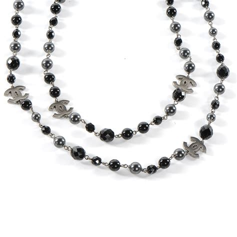 Chanel Beaded Cc Necklace Black 51286
