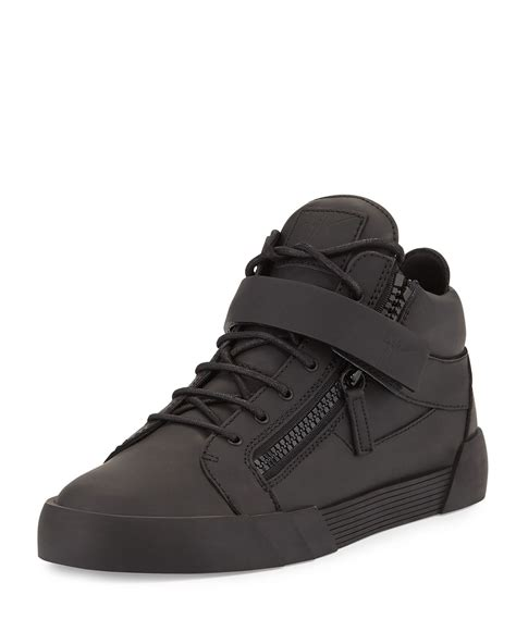 Mid Top giuseppe zanotti mens matte leather zip buckle mid top sneaker in black for lyst