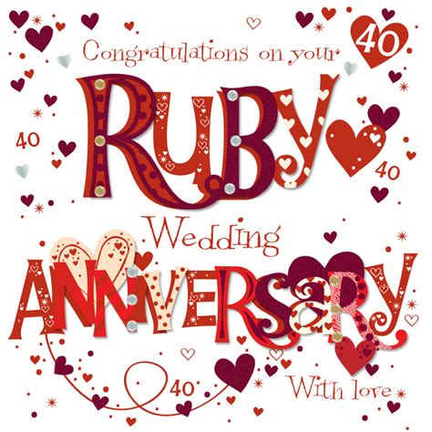 Ruby Wedding Anniversary Ecard by On Your Ruby 40th Anniversary Greeting Card Cards