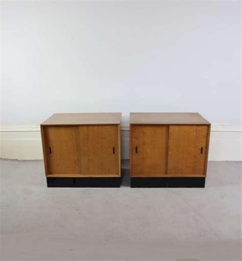 Oak Veneer Bedside Cabinets by Pair Of Mid Century Oak Veneer Bedside Low Side Cabinets