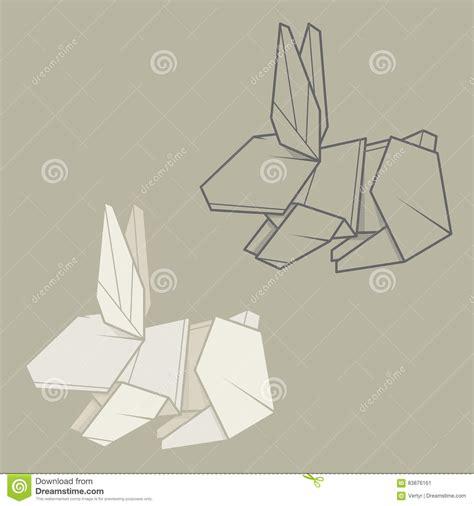 Origami Paper Set - set illustration paper origami of rabbit stock vector