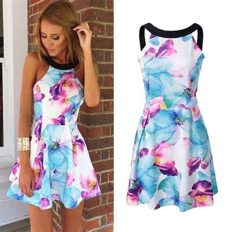Promo Murah Summer Dress Flower Pastel dress floral dress dress teenagers blue pink clothes floral