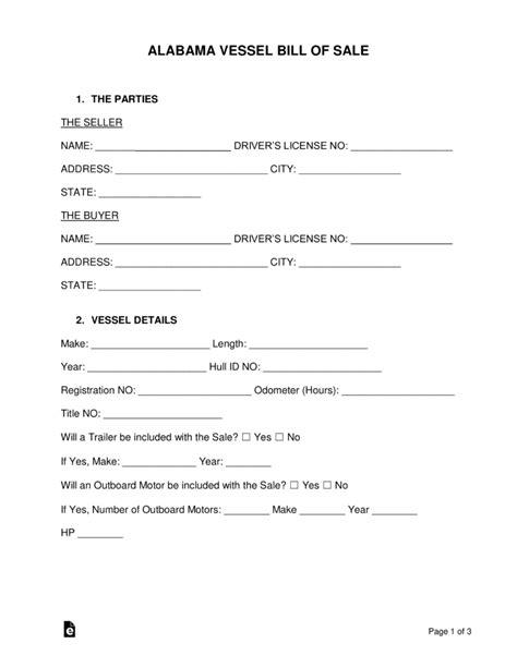 boat registration online alabama free alabama vessel bill of sale form word pdf