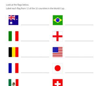 flags of the world quiz sheet label the flags world cup theme