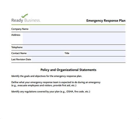 emergency response plan template for small business free small business emergency response plan