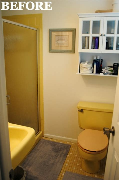 yellow bathroom makeover bathroom before and after
