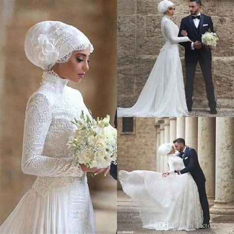 Maxi Mahkota discount sleeves muslim wedding dress 2016 high neck