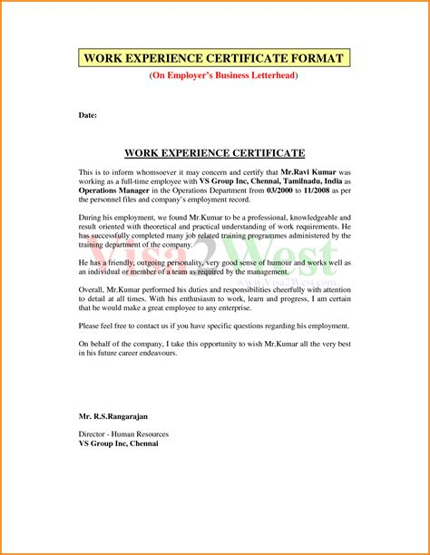 Work Experience Letter Employer Doc 638826 Work Experience Certificate From Employer Sle Bizdoska