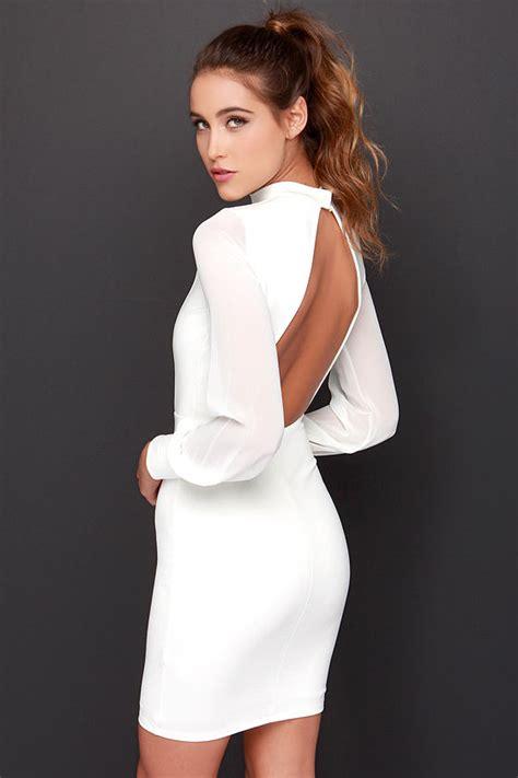 sexy ivory dress long sleeve dress bodycon dress