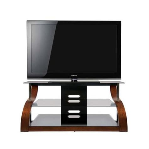 bello curved wood and black glass tv stand for 32 55 inch