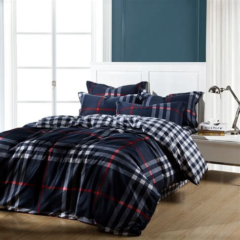 blue plaid full queen king size cotton bedding sets