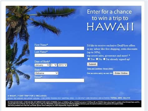 Vacation Sweepstakes 2014 - stp hawaii trip 2014 sweepstakes sweepstakes fanatics