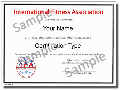 Fitness Instructor Certification Samples Ifa