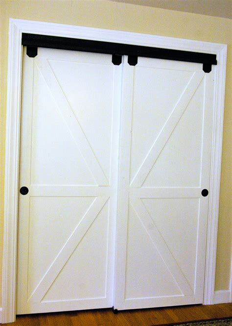 Sliding Bypass Closet Doors Remodelaholic How To Make Bypass Closet Doors Into Sliding Faux Barn Doors
